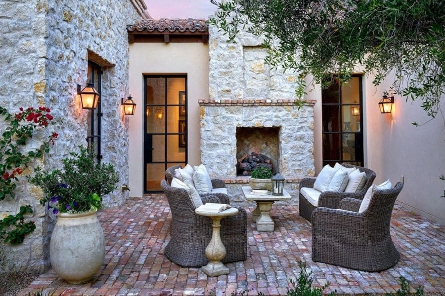 Exterior Fire Place at the Mediterranean Villa in Paradise Valley AZ