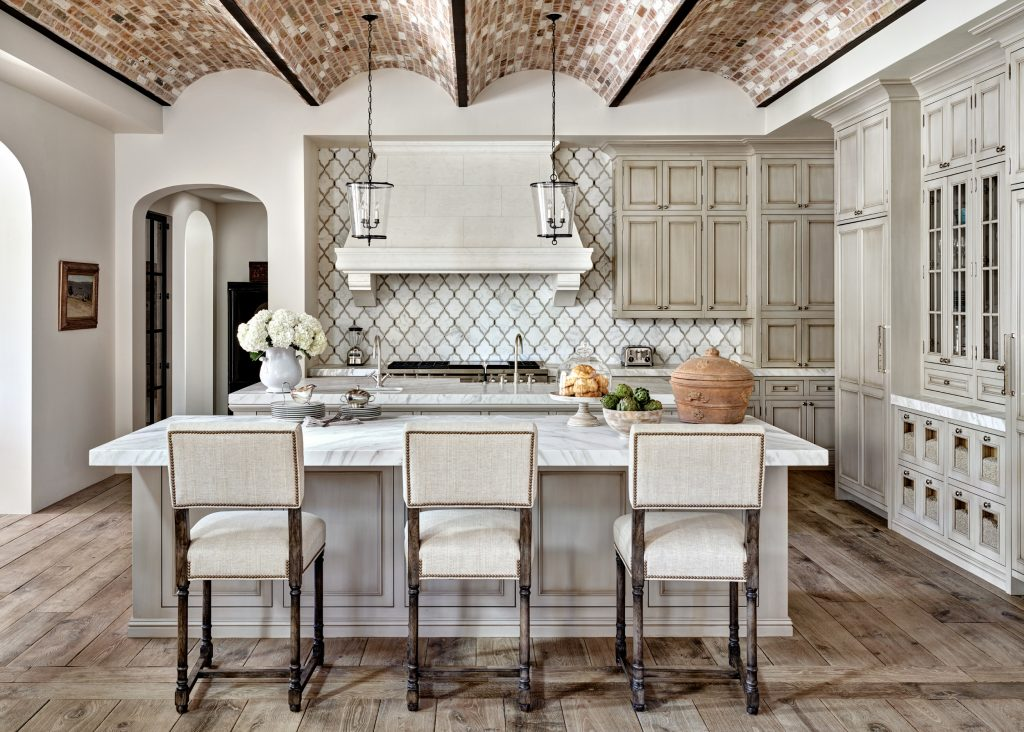 Luxury Kitchen Island in Mediterranean Villa